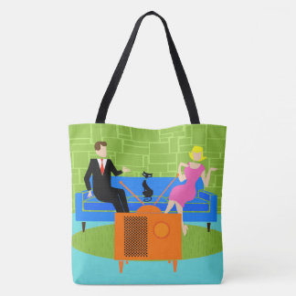Retro Couple with Cat Tote Bag