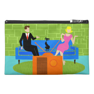 Retro Couple with Cat Travel Accessory Bag