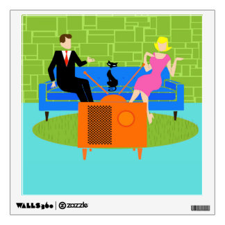 Retro Couple with Cat Wall Decal
