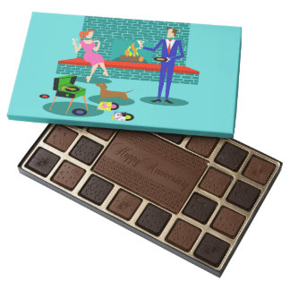 Retro Couple with Dog Box of Chocolate