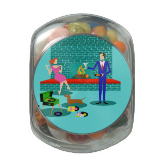 Retro Couple with Dog Candy Jar Glass Candy Jars