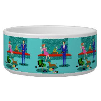 Retro Couple with Dog Ceramic Pet Bowl
