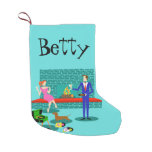Retro Couple with Dog Christmas Stocking