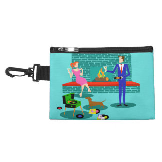 Retro Couple with Dog Clip on Accessory Bag