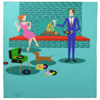 Retro Couple with Dog Cloth Napkins