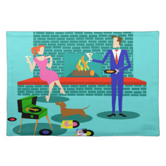 Retro Couple with Dog Cloth Placemat