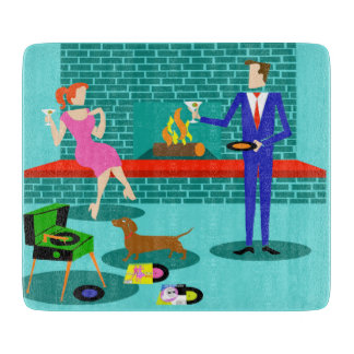 Retro Couple with Dog Cutting Board