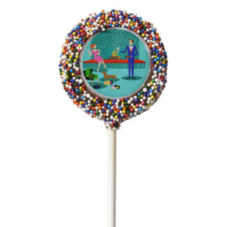 Retro Couple with Dog Dipped Oreo Pops