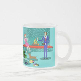 Retro Couple with Dog Frosted Glass Mug