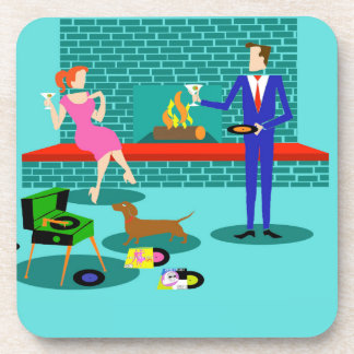 Retro Couple with Dog Hard Plastic Coasters