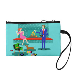 Retro Couple with Dog Key Coin Clutch