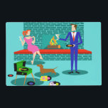 """Retro Couple with Dog Laminated Placemat<br><div class=""""desc"""">This Retro Couple with Dog Laminated Placemat looks like a scene out of a romantic comedy. The 1960s&#39;s style, minimalist art design features an attractive couple enjoying a romantic evening at home. The sophisticated room prominently features an aqua and teal brick fireplace with a bright red ledge. A beautiful, redhead...</div>"""