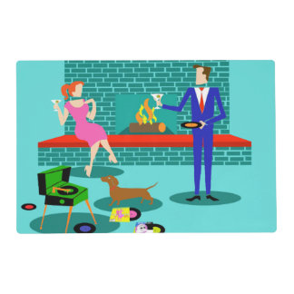 Retro Couple with Dog Laminated Placemat