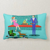 Retro Couple with Dog Lumbar Pillow