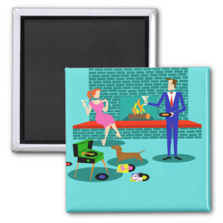 Retro Couple with Dog Magnet