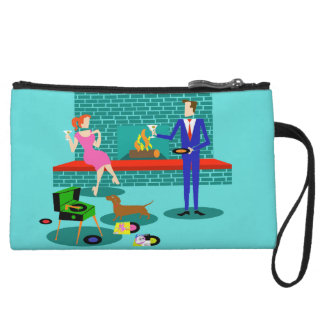 Retro Couple with Dog Mini Clutch