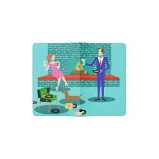 Retro Couple with Dog Moleskine Notebook Cover Pocket Moleskine Notebook Cover With Notebook