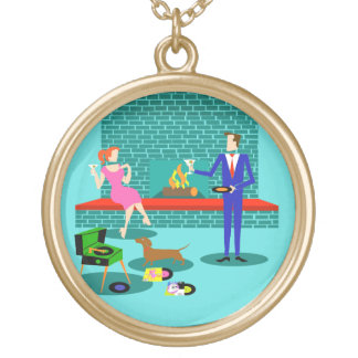Retro Couple with Dog Necklace