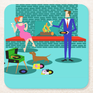 Retro Couple with Dog Paper Coaster