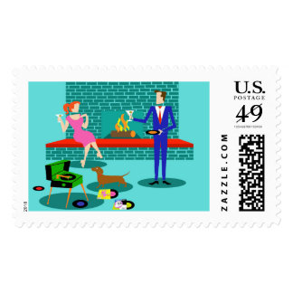 Retro Couple with Dog Postage Stamps