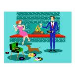 Retro Couple with Dog Postcard
