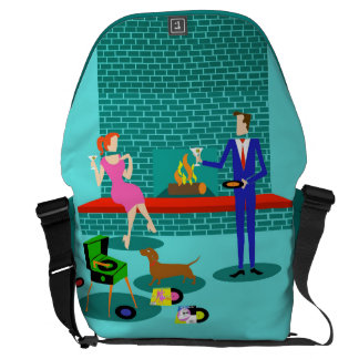 Retro Couple with Dog Rickshaw Messenger Bag