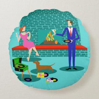 Retro Couple with Dog Round Pillow