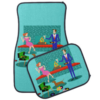 Retro Couple with Dog Set of Car Mats