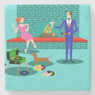Retro Couple with Dog Stone Coaster