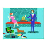 Retro Couple with Dog Stretched Canvas Print
