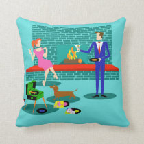 Retro Couple with Dog Throw Pillow