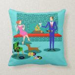 Retro Couple with Dog Throw Pillow