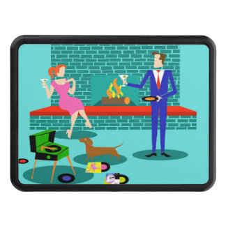 Retro Couple with Dog Trailer Hitch Cover