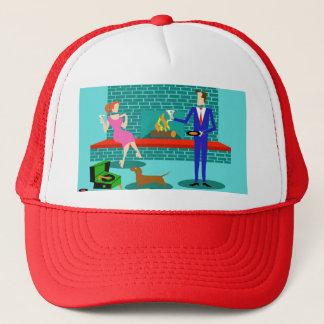 Retro Couple with Dog Trucker Hat