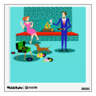 Retro Couple with Dog Wall Decal