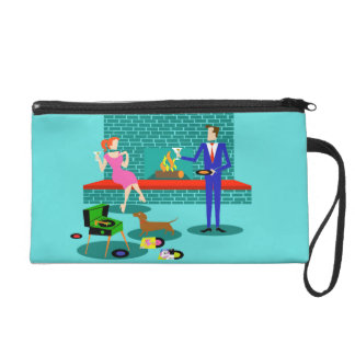 Retro Couple with Dog Wristlet