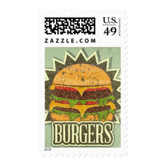 Retro Cover For Fast Food Menu Postage Stamps