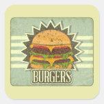 Retro Cover For Fast Food Menu Square Sticker