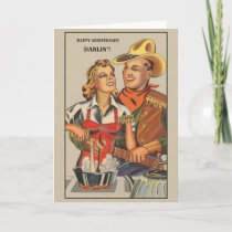 Retro Cowboy Anniversary Greeting Card