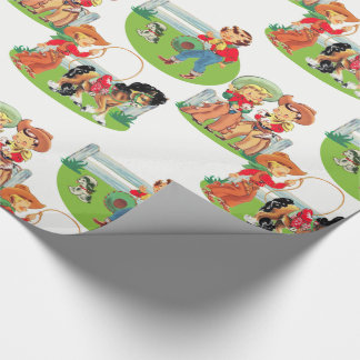 Retro Cowboy Cowgirl Kids Birthday Wrapping Paper
