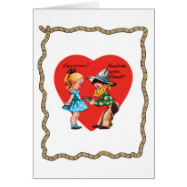Retro Cowboy Heart Rope Valentine's Day Card