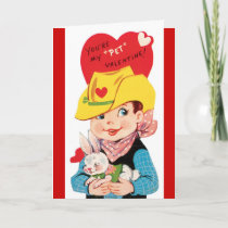 Retro Cowboy with Pet Valentine's Day Card