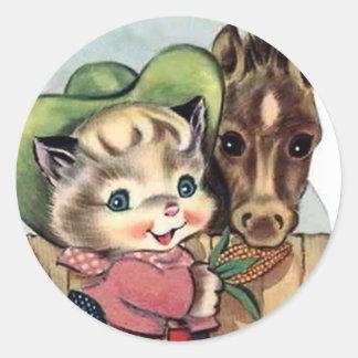 Retro Cowgirl Kitten Pony Fun Stickers