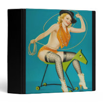 Retro cowgirl pinup on wooden horse 3 ring binder