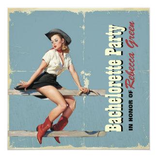 retro cowgirl western country bachelorette party 5.25x5.25 square paper invitation card