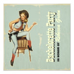 retro cowgirl western country bachelorette party custom announcement