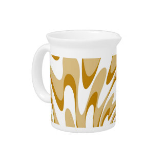 Retro Cream and White Waves Abstract Art 2 Beverage Pitchers