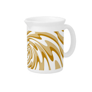 Retro Cream and White Waves Abstract Art Beverage Pitchers