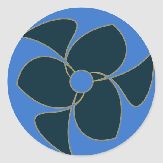 Retro Crescent Spiral Triquerta Teal Classic Round Sticker