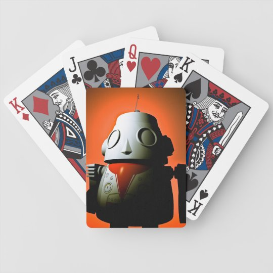 Retro Cropped Toy Robot 01 Bicycle Playing Cards